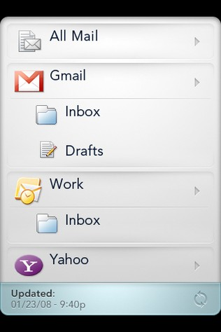 One of many concepts for email on the Pre